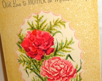 Vintage Mother's Day Card, Gold Glitter, Pink Carnations, Greeting Card, Paramount, Paper Ephemera, Paper Projects  (208-16)