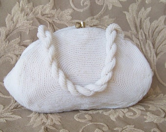 Vintage Beaded Purse in Antique White Bride Bride Maids Wedding