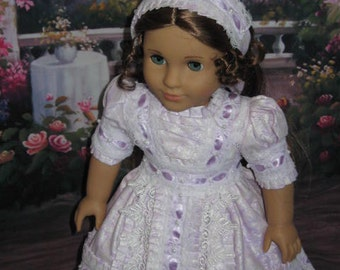 Orchid Netherfield Gown  made to fit American Girl Doll, MHD Pattern