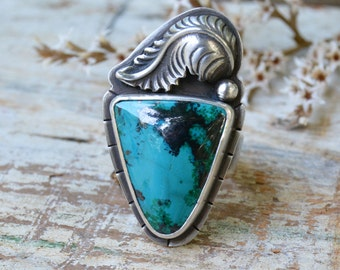Boho Shattuckite Ring. Unique Feather Stone Ring. Turquoise Blue Sterling Silver Ring. One of a Kind Statement Ring. Size 8