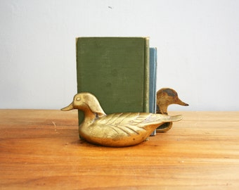 vintage 70s Brass Wood Duck Bookends Perfect Man Cave or Den Decor