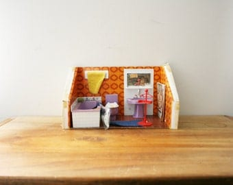 vintage 70s Hogarin Dollhouse Furniture Set Bano Bathroom Toliet NIP Made in Spain