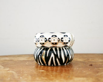vintage 80s Pair of Chunky Black & White Geometric and Animal Print Bangle Bracelets