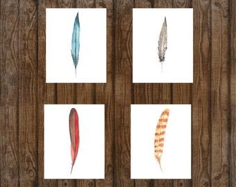 Rustic Feather Watercolor Prints, Set of 4, Beach Decor, Boho Chic, Bird Feathers, Home Decor, Art Prints