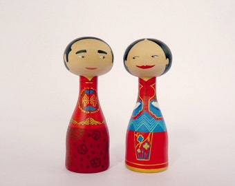 Chinese folk wedding dress Custom - Wedding Cake Topper - FREE SHIPPING Personalized - Wooden art doll hand painted traditional chinese