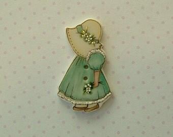 Sun Bonnet Girl Button
