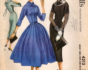 1950s McCall's 4212 Vintage Sewing Pattern Misses Afternoon Dress, Party Dress, Full Skirt Dress, Sheath, Slim Skirt Dress Size 14 Bust 34