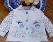 Size 2 Baby Girl Vintage Embroidered Jacket Kitty Coat