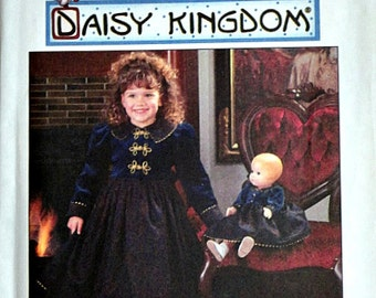 """Simplicity 7348 Daisy Kingdom Sewing Pattern, Girls' Dress And Doll Dress For 17"""" Doll, Special Occasion Dress, Sizes 3-4-5-6, Uncut FF"""