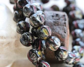 MIDNIGHT MELONS .. 25 Picasso Czech Melon Beads 6mm (5328-st)