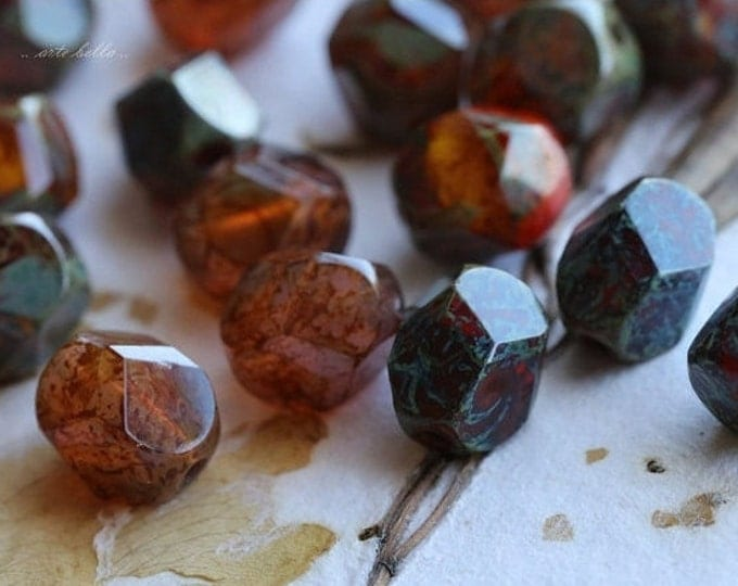 EARTHY NUGGETS No. 2 .. 6 Picasso Czech Faceted Glass Beads 8x10mm (3742-6)