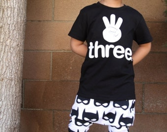 THREE. #3 hand Toddler Baby Boy, Girl, 3 year old Birthday shirt w/appliqued ultrasuede lettering three fingers 3rd birthday shirt kids gift