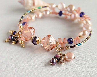 Dichroic Lampwork Memory Wire Bracelet, Freshwater Pearls,Pink Peach, Purple, Swarovski,Gold Filled - EASTERN DELIGHT