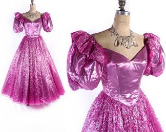 Vintage 80s Prom Dress // 1980s Prom Dress // Pink Lame Dress // Metallic Pink Dress // Mike Benet Dress - sz S - 26 Waist
