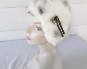 1970s Vintage Faux Fur Peaked Hood Hat White with Black Spots NOS