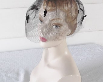 1960s Vintage Black Bird Cage Veil Whimsey Hat with Stars