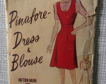"1940s Pinafore Dress & Blouse - 36"" Bust - Weldons So Easy No. 111 - Vintage Wartime WW2 Sewing Pattern"