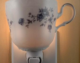 Johann Haviland Fine China Made in Bavaria BLUE GARLAND  Pattern  Tea Cup Night Light With Handle