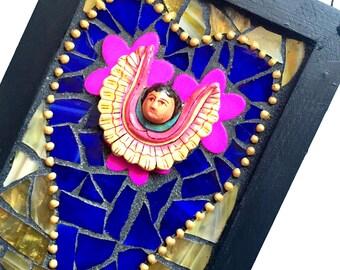 Mosaic Altar Plaque, Mosaic Angel Plaque, Winged Mexican Angel Altar Shrine, Mosaic Heart Art Wall Hanging, Mosaic ArtMixed Media Art
