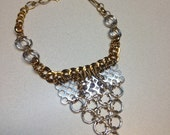 Statement necklace. Silver and gold necklace. Mod necklace. Triangle necklace.