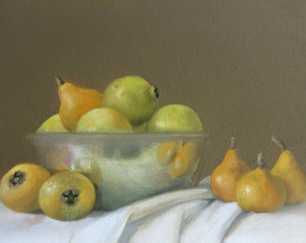 Wild Fruit with Silver Bowl, Original Oil Painting on Linen Canvas