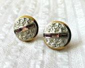 1940s Earrings Purple & Crystal Rhinestone, Sm Button Style, Screwback, elegant evening glam