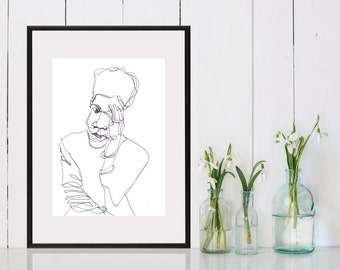 Art  Pen and Ink Drawing Black Man Black and White  Print