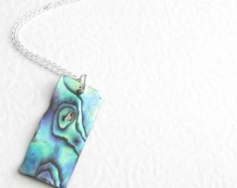 Natural Paua Necklace, Green Rainbow Abalone Shell Jewelry