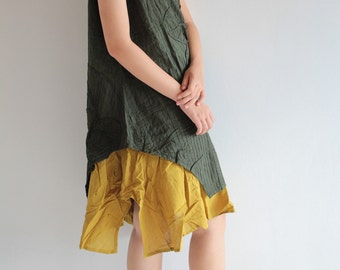 Artistic collection...Sunflower dress Mustard/ dark green and more color  (1160)