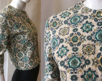 1960's cropped light jacket by Fritzi of California, in blue, teal, maize, and oatmeal, gold buttons & elbow sleeves, medium / size 8 - 10