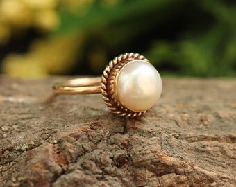 18k Gold Pearl Ring - Wedding Ring - Engagement Ring  - Anniversary Ring - Pearl Promise Ring - Gift for her