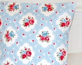 decorative pillow cover 18 inch, vintage shabby style pink blue white floral roses cushion cover