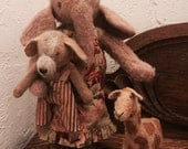 Primitive Elephant with Giraffe and Dog Dolls Friends Like These
