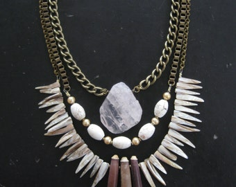 SALE - Statement Necklace with Rose Quartz Sea Urchin Shell Teeth and Vintage Pearls