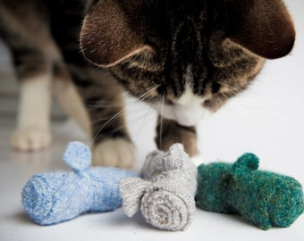 organic cat toys, set of three,  wool catnip mice, multi color assortment,  combo deal,  felted sweater mice,