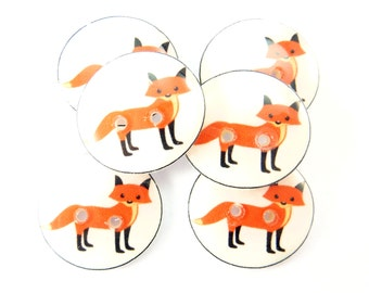 "6 Handmade Buttons. Fox Buttons. 3/4"" or 20 mm resin Decorative Novelty sewing buttons."