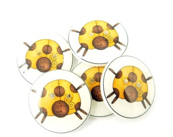 """5 Lady Bug or Lady Bird Buttons. Golden Yellow Lady Bug Handmade Buttons.  Sewing, knitting or needle craft buttons. 3/4"""" or 20 mm."""