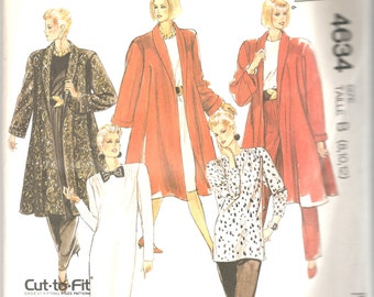 1980s McCalls 4634 Misses Swing Coat Dress Tunic and Pants Pattern EASY Womens Vintage Sewing Pattern Size 8 10 12 Bust 31 32 34 UNCUT