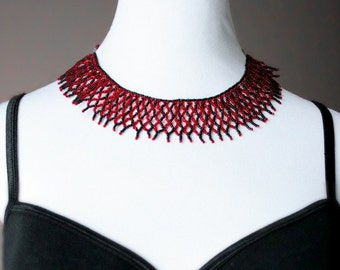 Red and black beaded net collar necklace