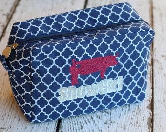 Show Girl Quatrefoil Glitter Monogram Cosmetic Bag - Monogram Travel Bag - Stock Show - Cosmetic Organizer - Toiletry Kit - Livestock Show