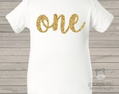 First birthday shirt girl sparkly one or any age Tshirt or bodysuit - fun gold glitter birthday shirt