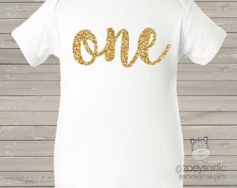 First birthday shirt girl sparkly one or any age Tshirt or bodysuit - fun gold glitter birthday shirt
