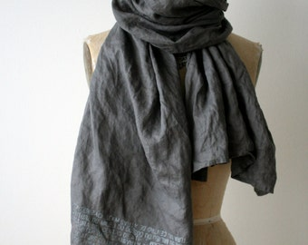 SALE gray linen printed text scarf, Accessories, Holiday Gifts, Cool Unique Scarves