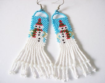 Beadwork Dangle Earrings ,  Beaded snowman Earrings ,  Handmade Christmas Earrings , Holiday Earrings , Seed Bead Earrings