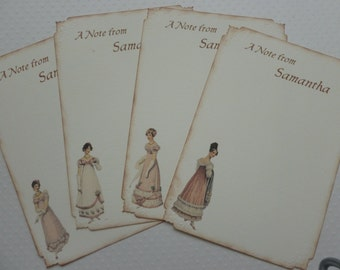 Jane Austen note cards, Regency fashion. personalized notes, thank you postcards - set of 8