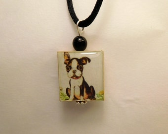BOSTON TERRIER Jewelry / Beaded Scrabble Pendant / Charm / Puppy / Necklace