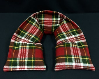 Neck Heating Pad, Microwave Heat Pack, Corn Bag, Heated Neck Wrap, Plaid Flannel Neck Warmer, Christmas In July, Relaxation Gift