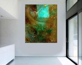Original art canvas modern art print turquoise Abstract acrylic fine art painting Cosmic Angel - Carol Lee Art Studio - Leearte