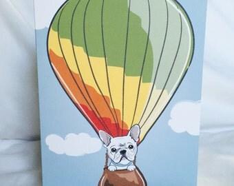 Frenchie Hot Air Balloon Greeting Card