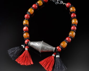 Bold Pakistani silver and tassel necklace * tribal design